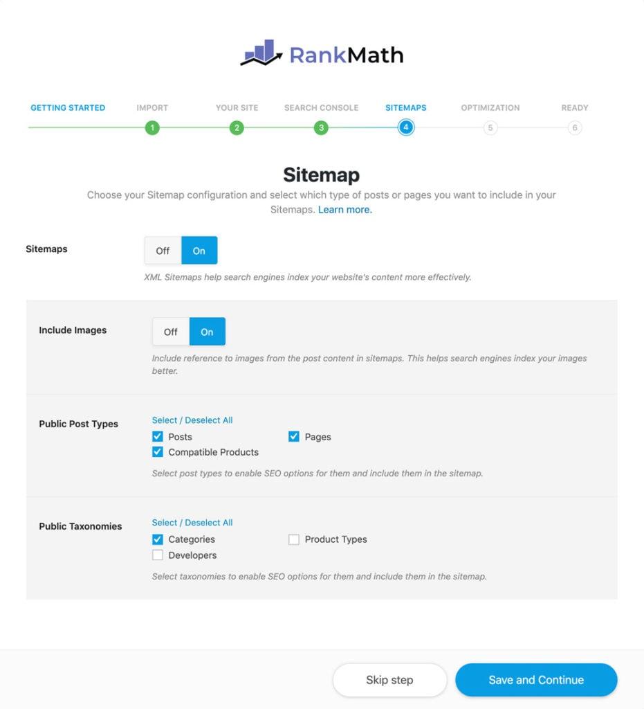 Aktiviere Sitemaps in RankMath