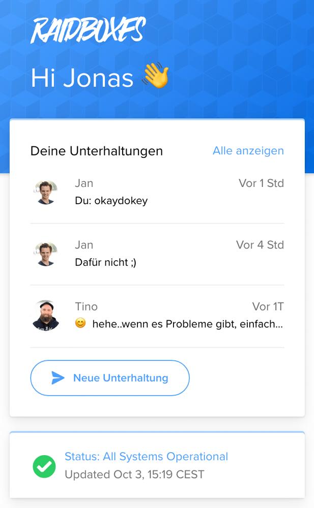 Chat-Support bei dem WordPress Hoster Raidboxes