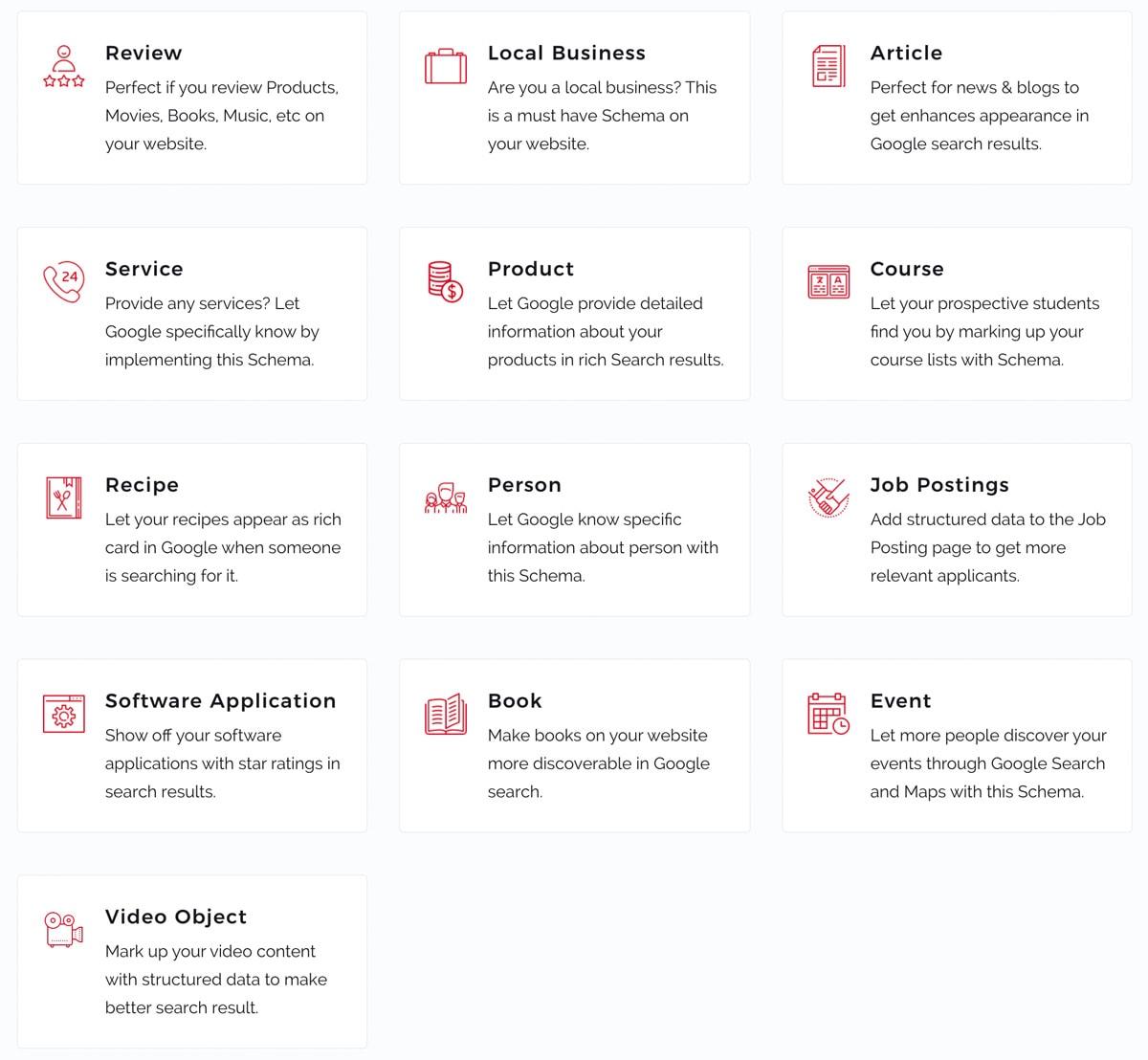 Schema pro supports 13 Schema markup types