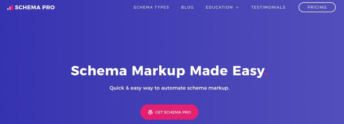 Schema Pro website header