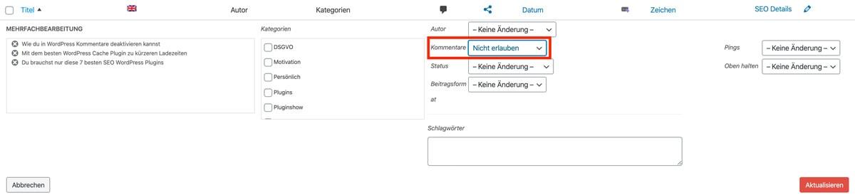 WordPress Kommentare bei mehreren Beiträgen gleichzeitig deaktivieren.