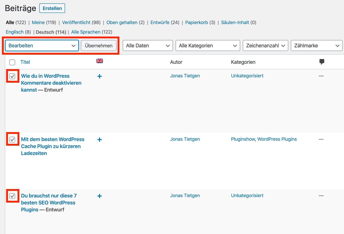 Screenshot WordPress Beiträge Mehrfachauswahl