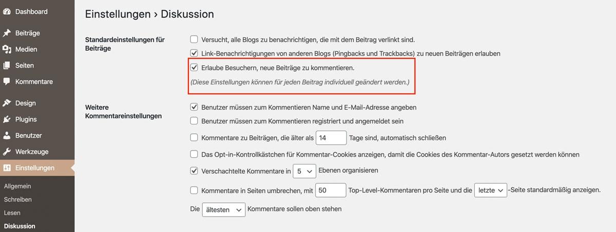 Anleitung, WordPress Kommentare global über die WordPress Einstellungen zu deaktivieren