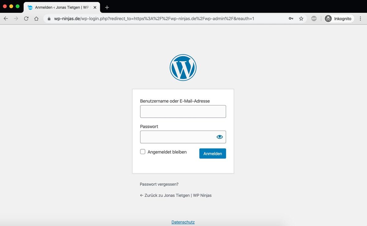 DIe WordPress Login Seite, der Weg zum WordPress Dashboard