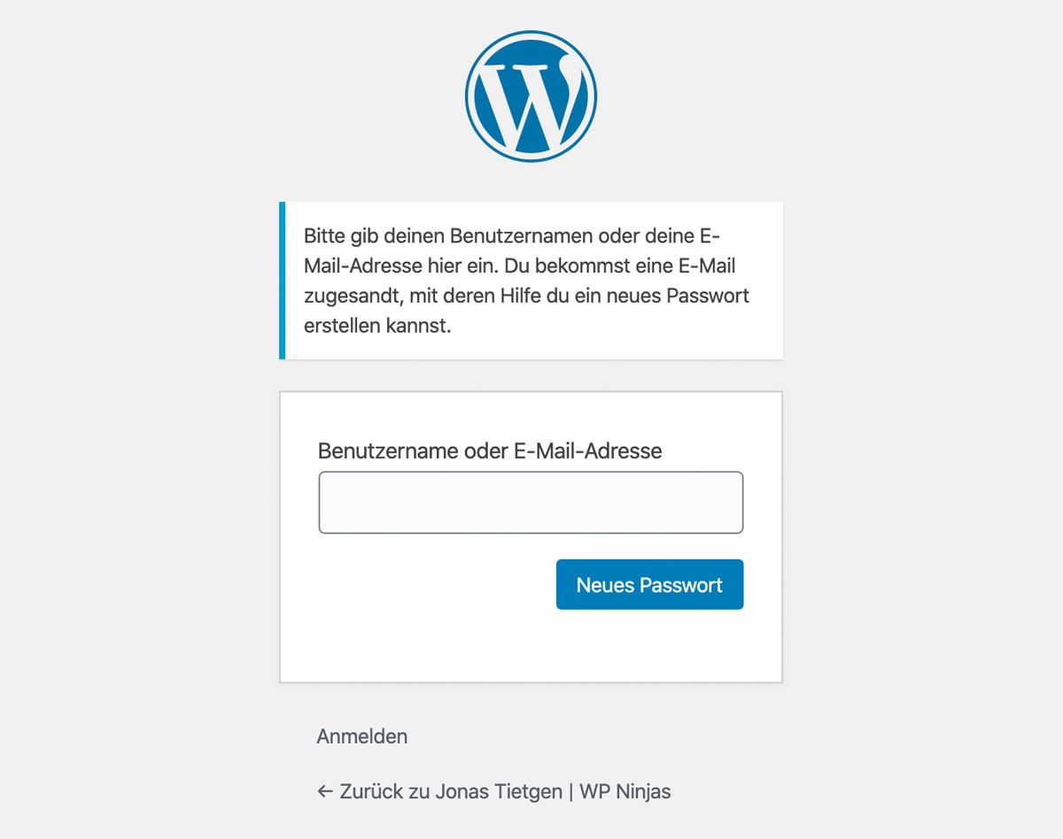 WordPress Passwort vergessen Formular