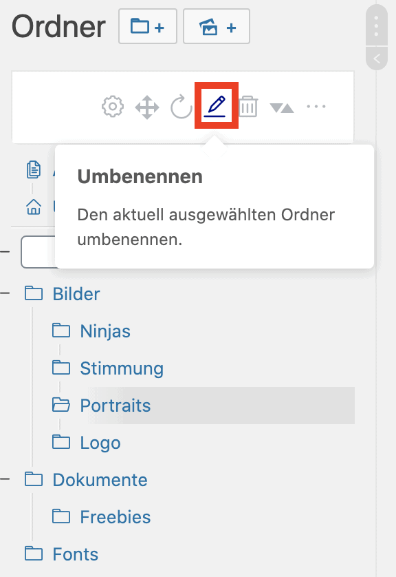 Ordner umbenennen in WordPress Real Media Library