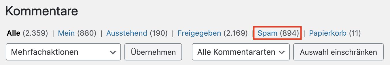 WordPress Spam Kommentare löschen