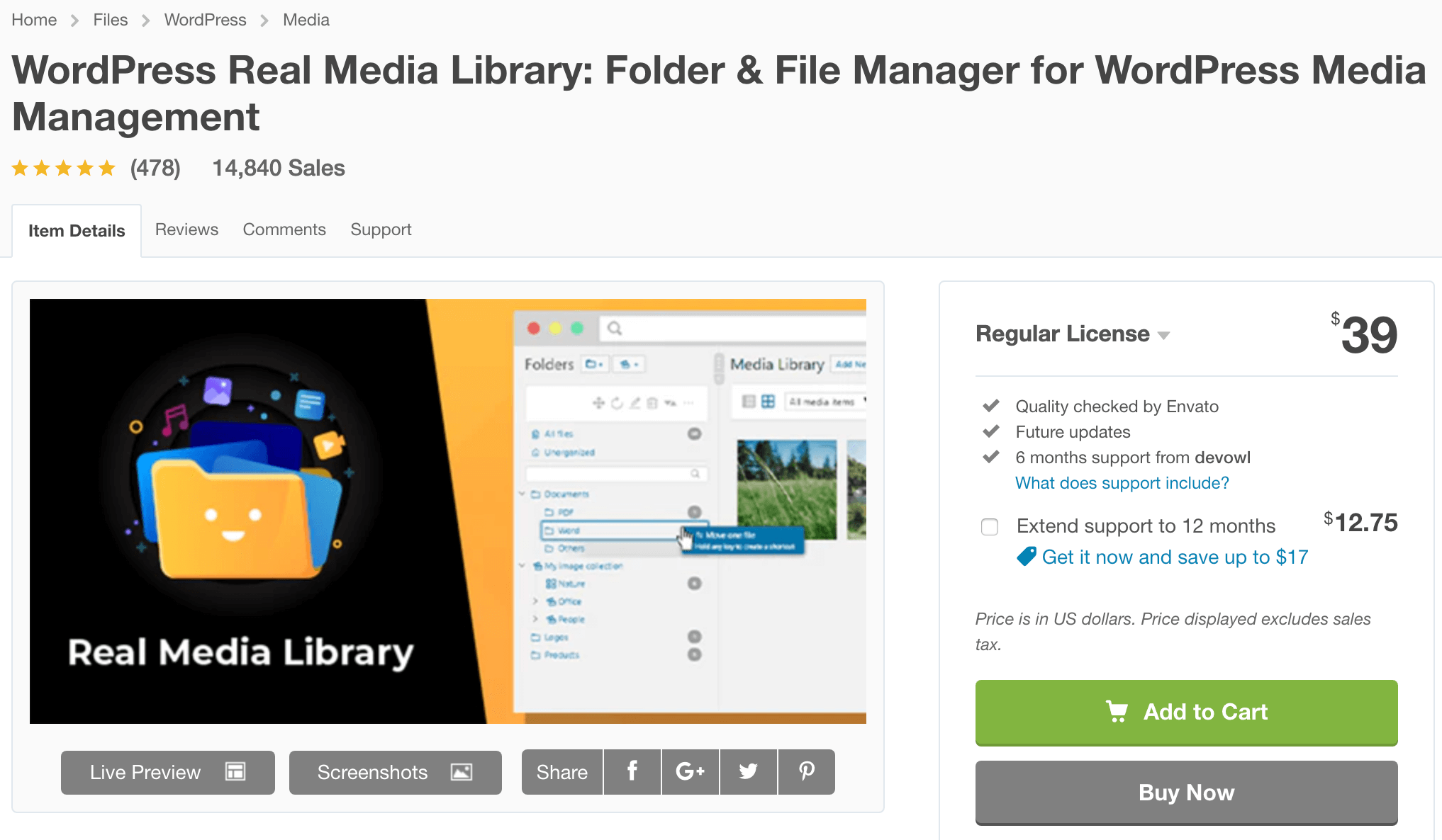 WordPress Real Media Library Bewertungen