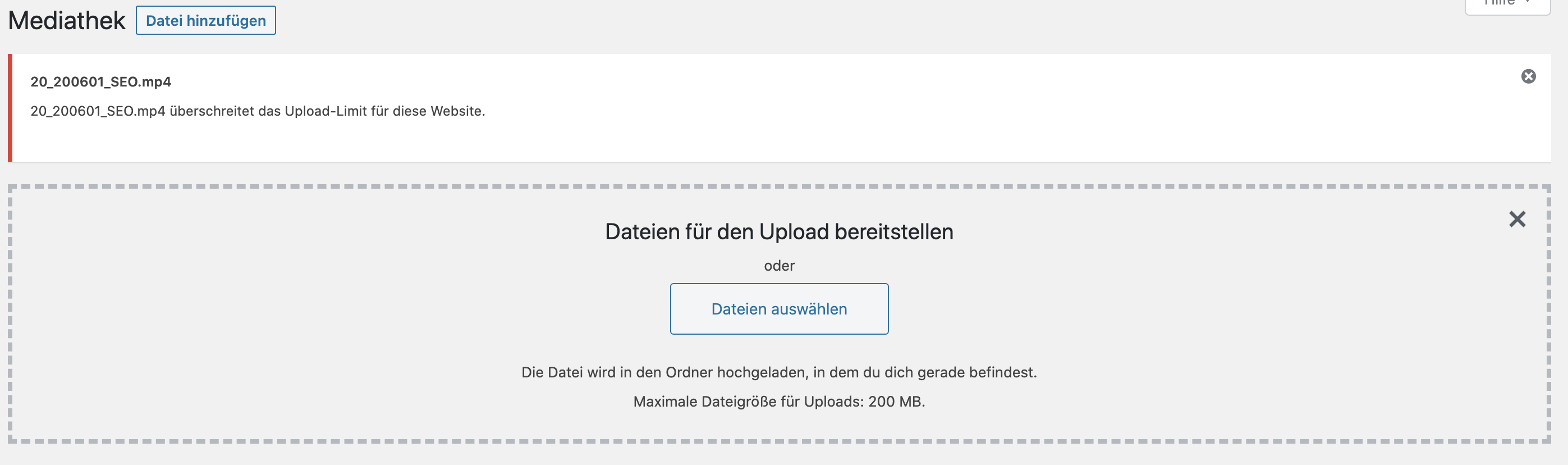 Fehlermeldung des WordPress Upload Limits