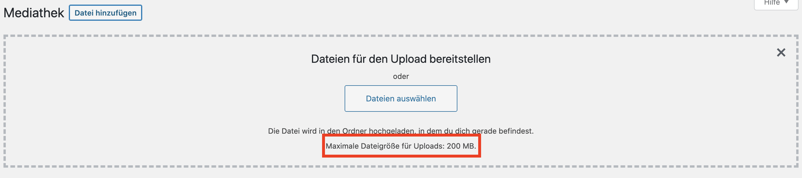 WordPress Upload Limit in der Mediathek prüfen