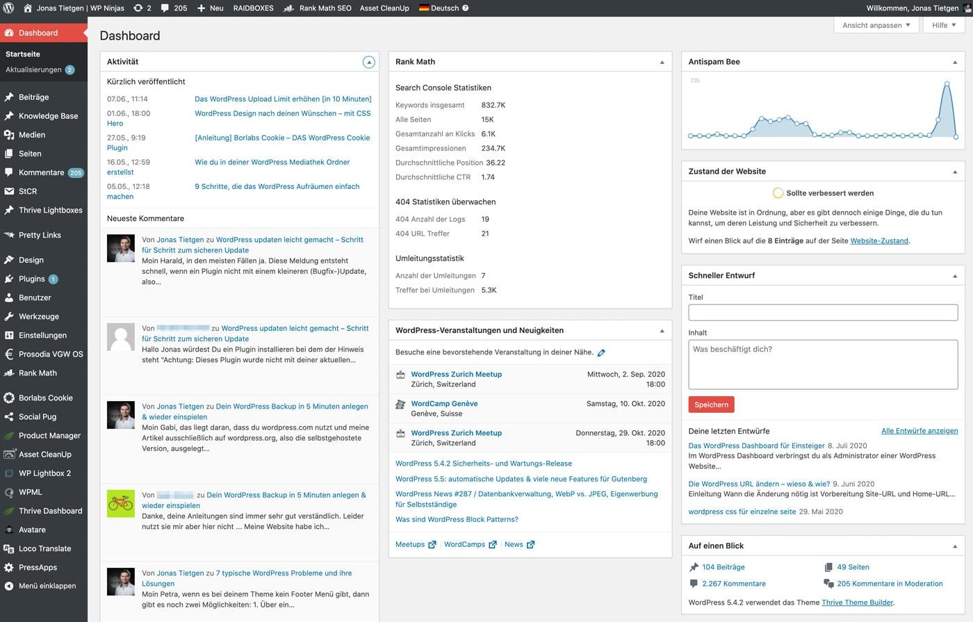 Das WordPress Dashboard in der Übersicht