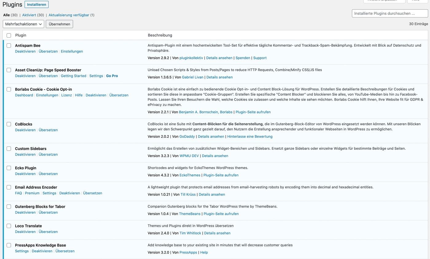 WordPress Pluginübersicht