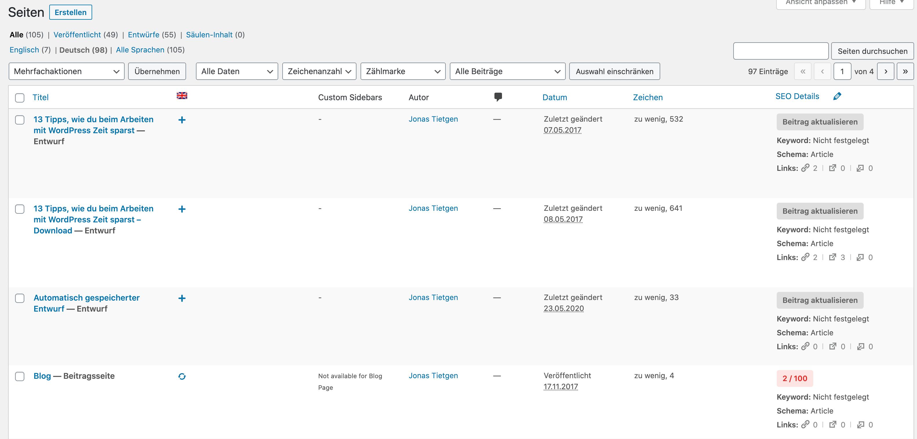 WordPress Seitenübersicht