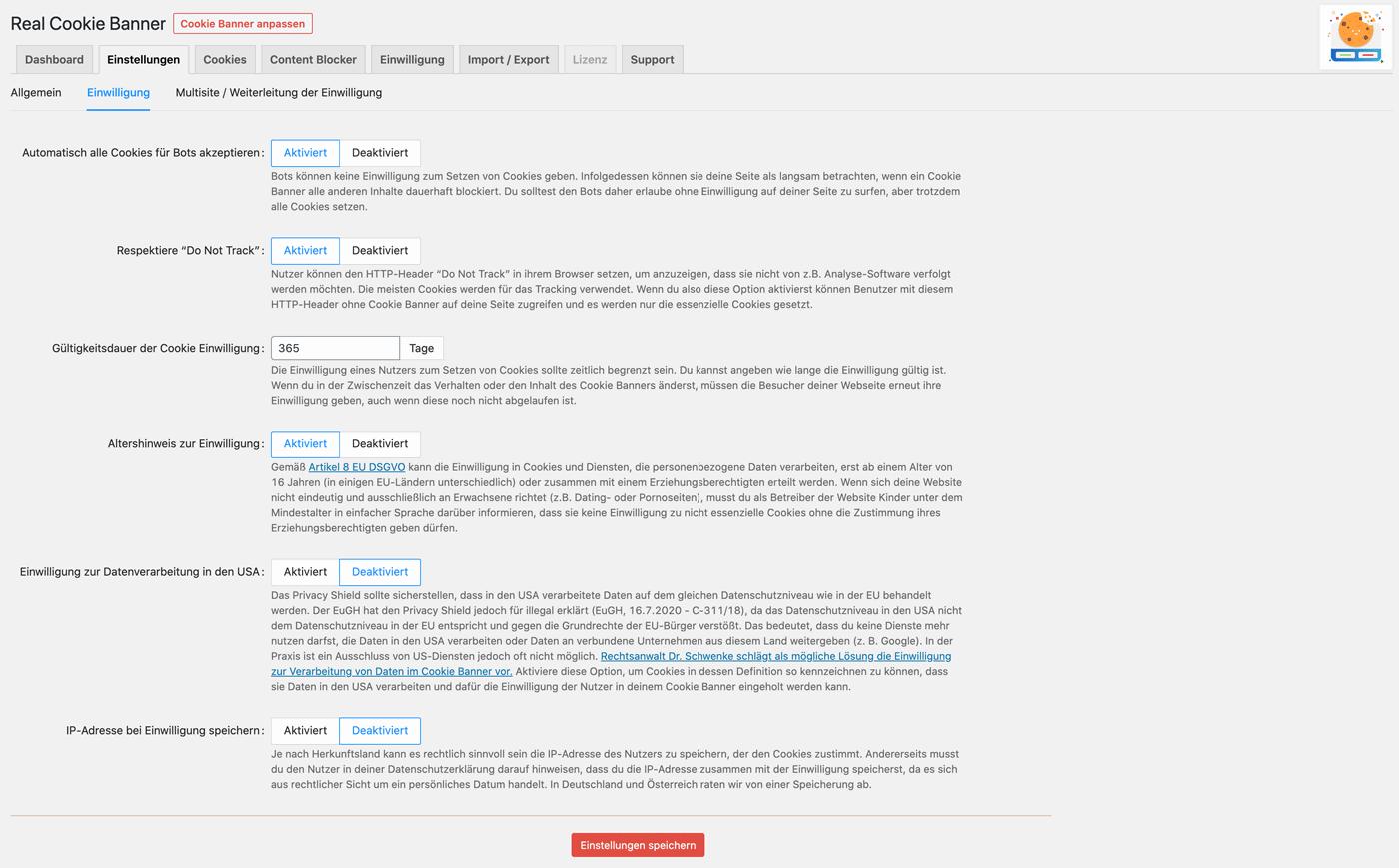 Hinweistexte zu rechtlichen und technischen Dingen im Real Cookie Banner WordPress Plugin
