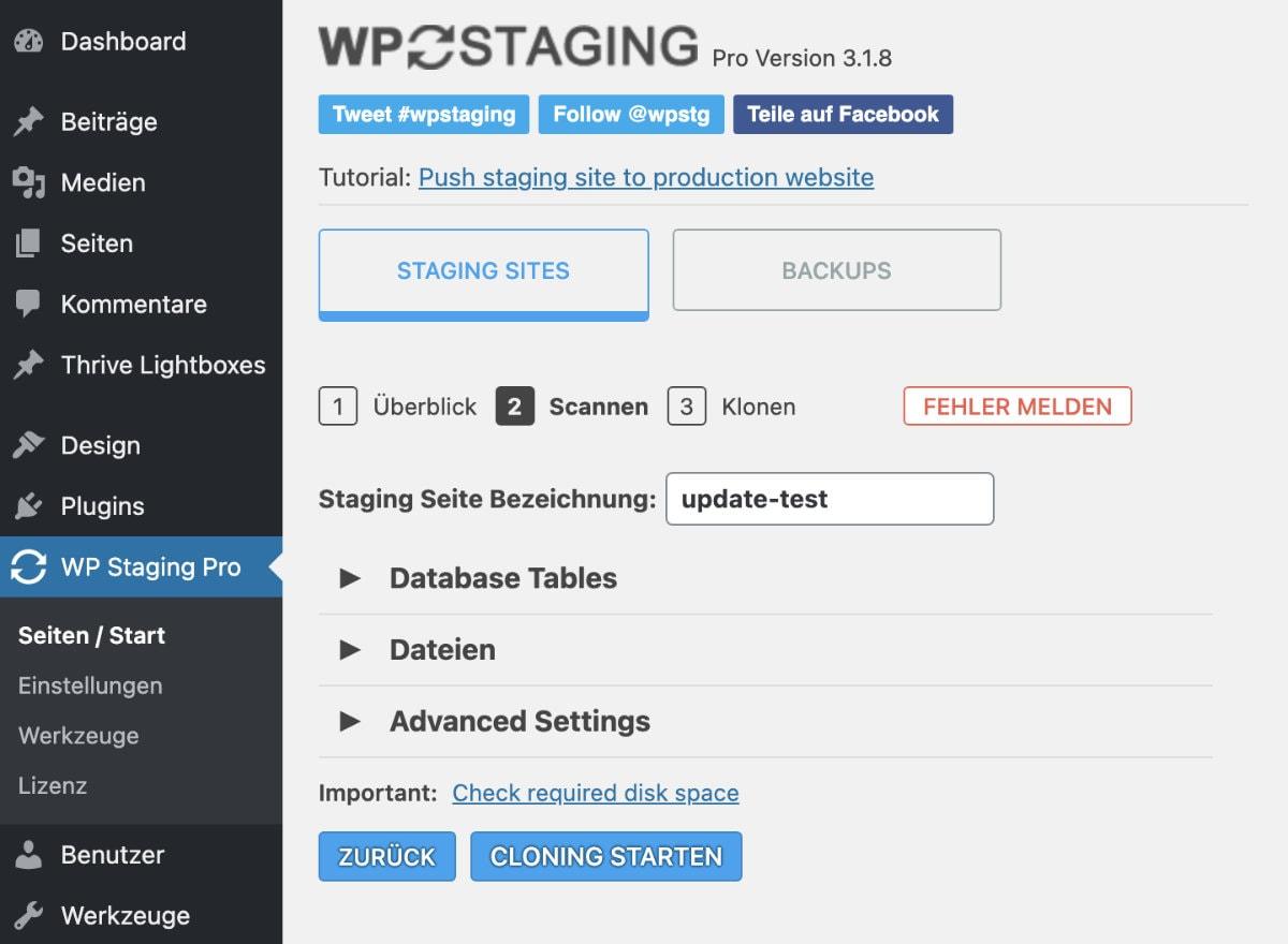 WP Staging Pro Anleitung Staging Site erstellen