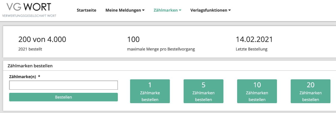 VG Wort Zählmarken herunterladen / bestellen