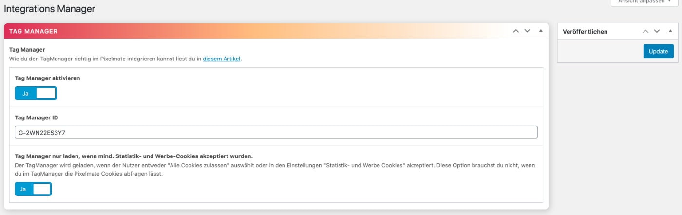 Google Tag Manager in WordPress einfügen mit Pixelmate