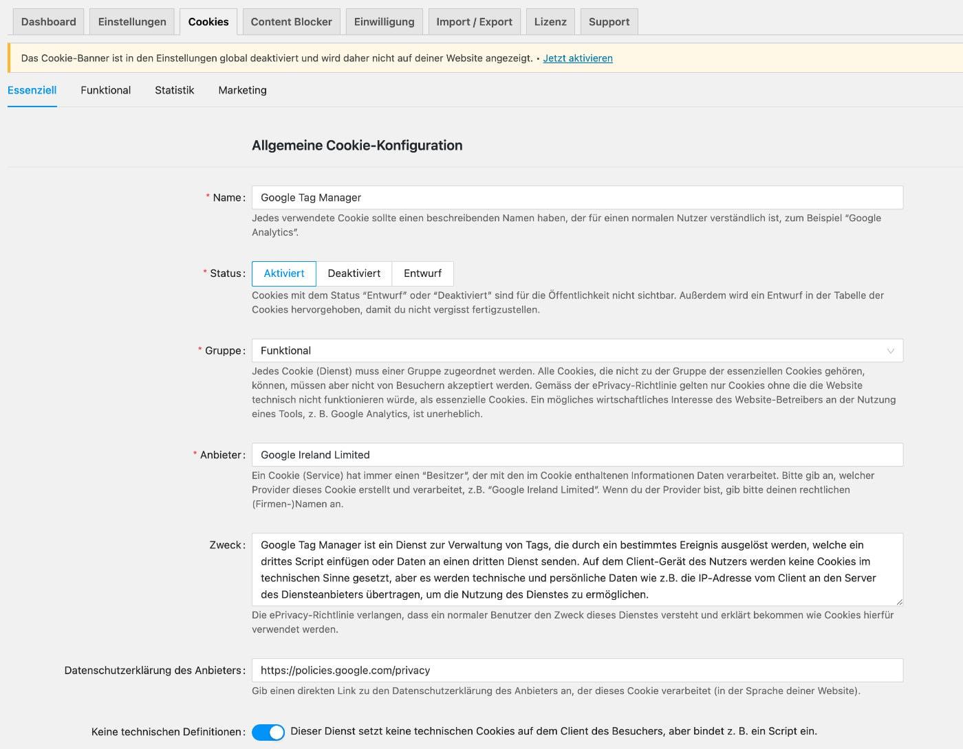 Google Tag Manager WordPress Einstellungen in Real Cookie Banner