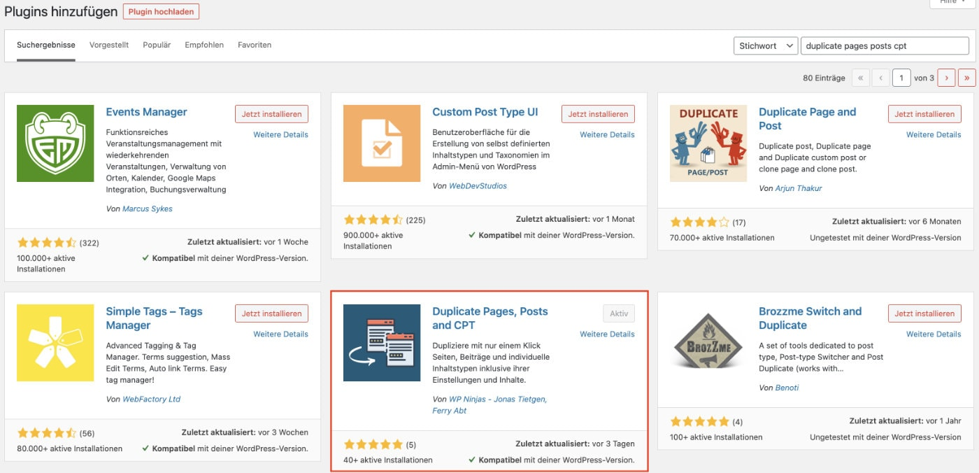 duplicate pages, posts and cpt kostenloses wordpress plugin