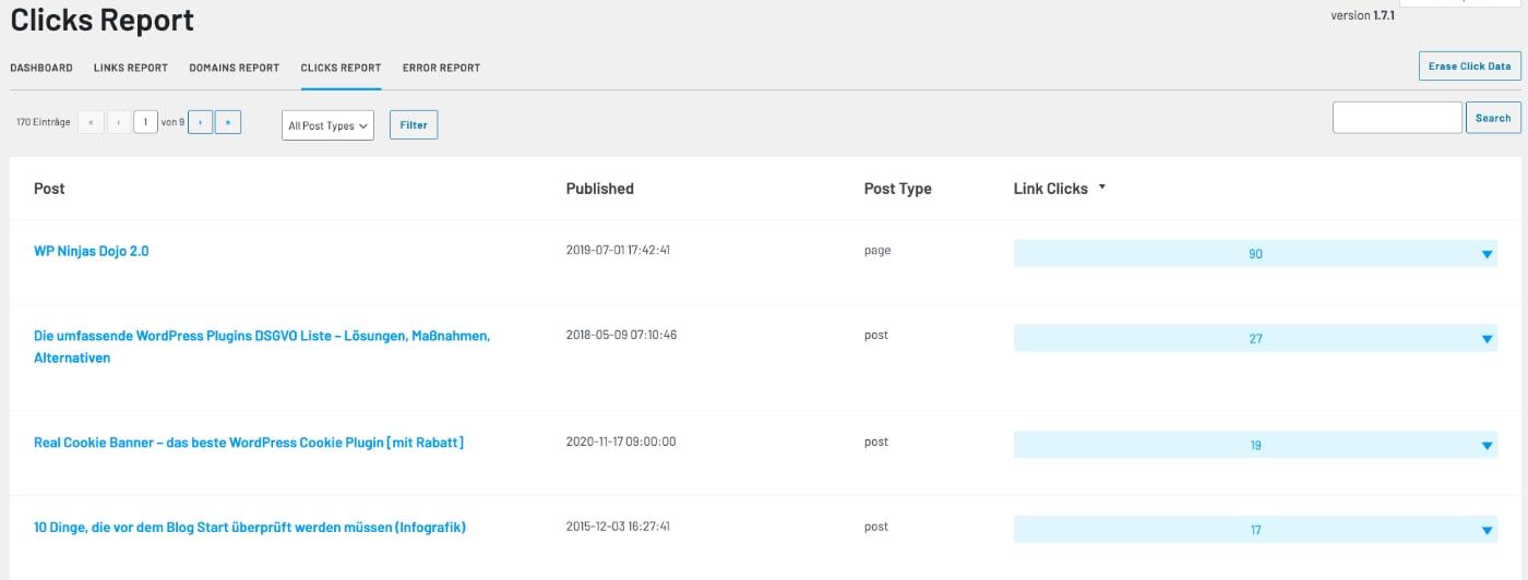 Der Clicks Report im LinkWhisper SEO Plugin