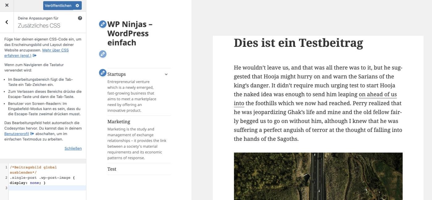 WordPress Beitragsbild ausblenden - Schritt 3