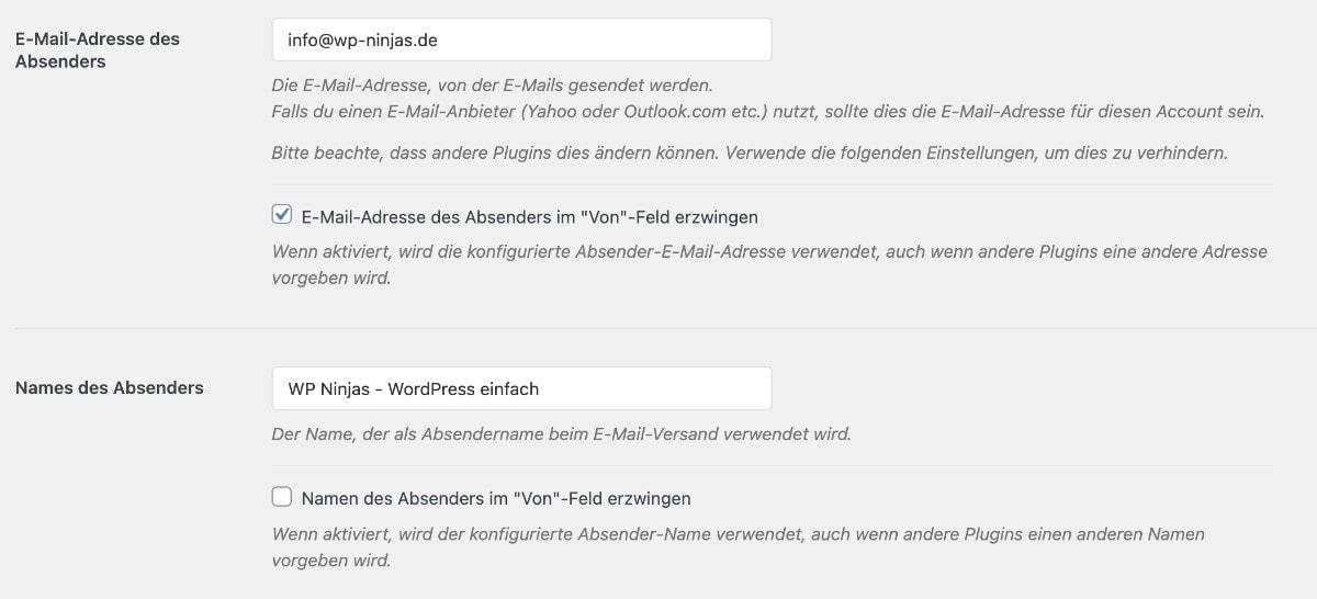 WordPress SMTP einrichten Schritt 1