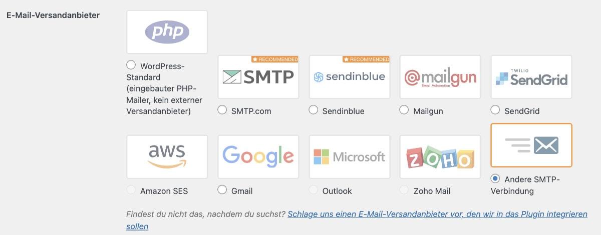 WordPress SMTP einrichten Schritt 2