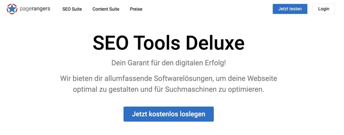 PageRangers SEO Tool Screenshot Startseite
