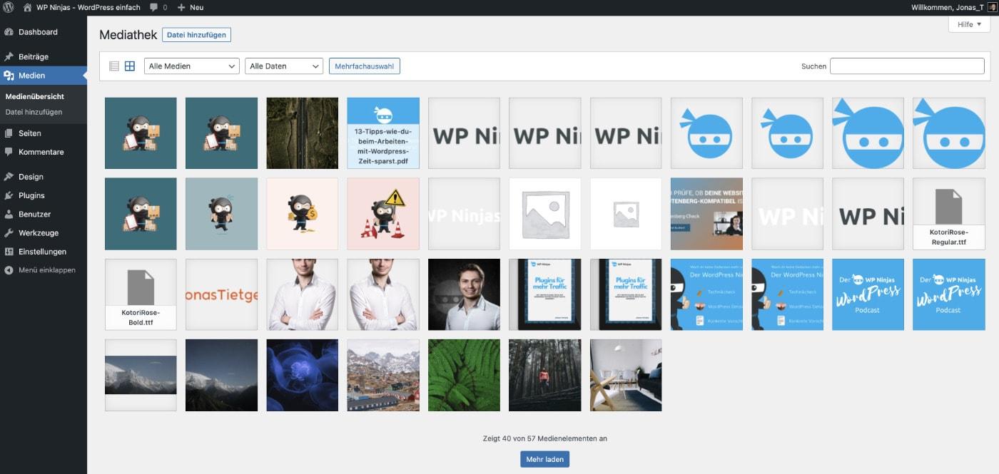 Die Mediathek ab WordPress 5.8 mit einem