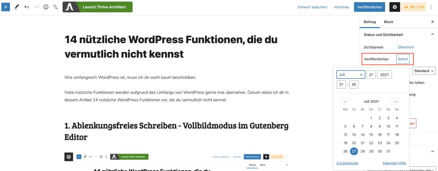 WordPress Beiträge planen und automatisch veröffentlichen