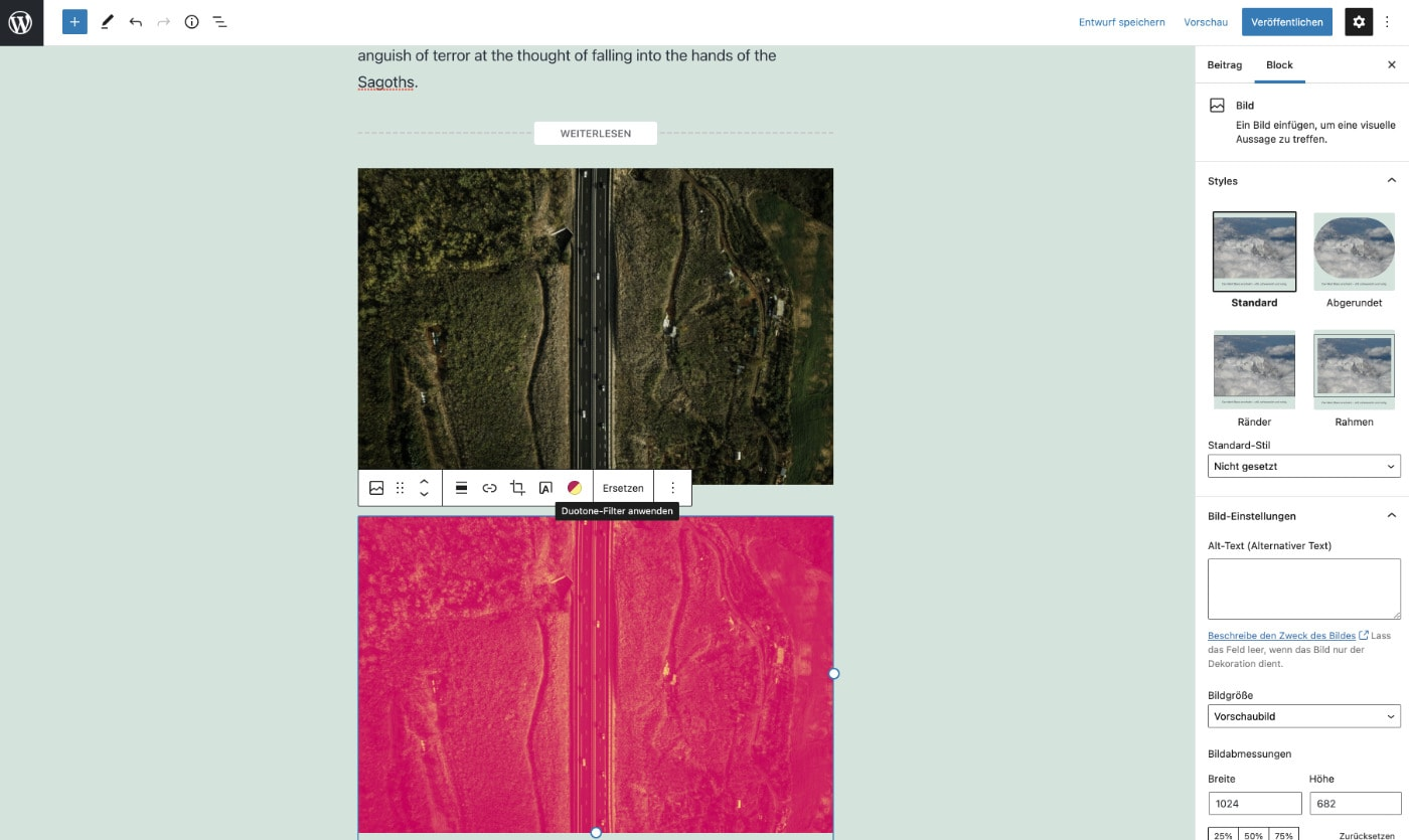 Der Duotone-Effekt für Bilder im Gutenberg Editor ab WordPress 5.8
