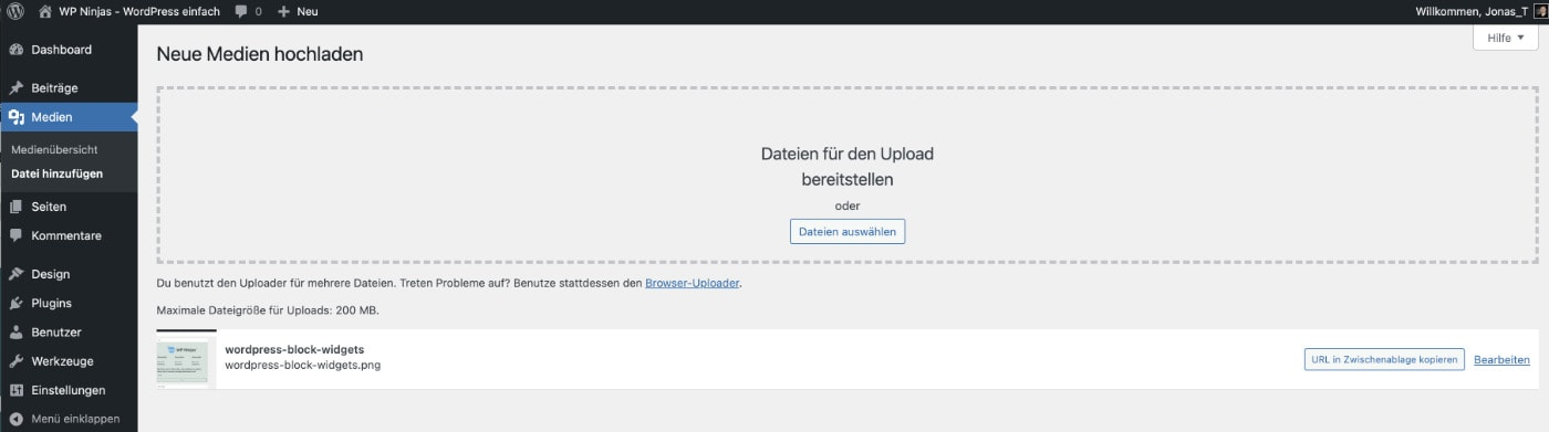 Infobox beim Upload von Medien zum Kopieren der Medien-URL